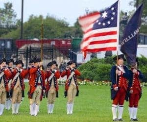 The Colonial Williamsburg Fife and Drums. They came in peace.