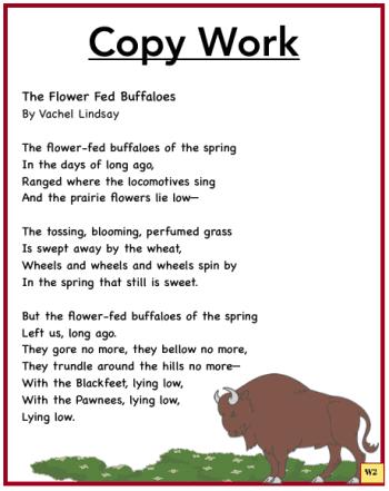 The Flower Fed Buffalo Poem Copy Work