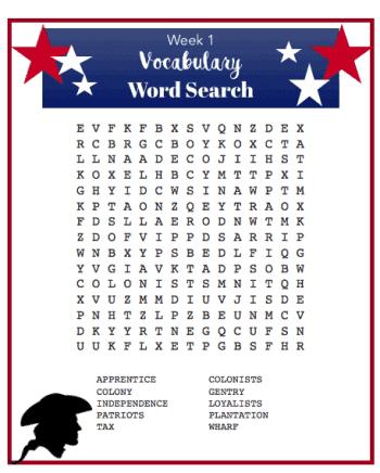American Girl Printable word search