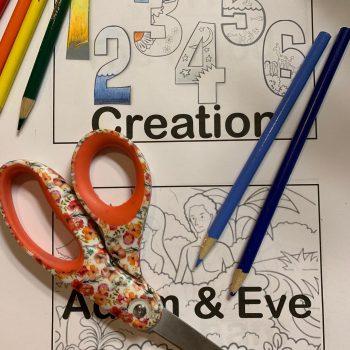 creation, adam and eve, scissors, colored pencils